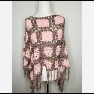 Knit Granny Square Shawl Pink poncho